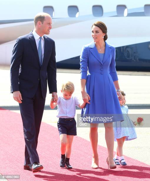 Catherine Duchess of Cambridge Prince William Duke of Cambridge Prince George and Princess Charlotte arrive at Berlin's Tegel Airport during an...