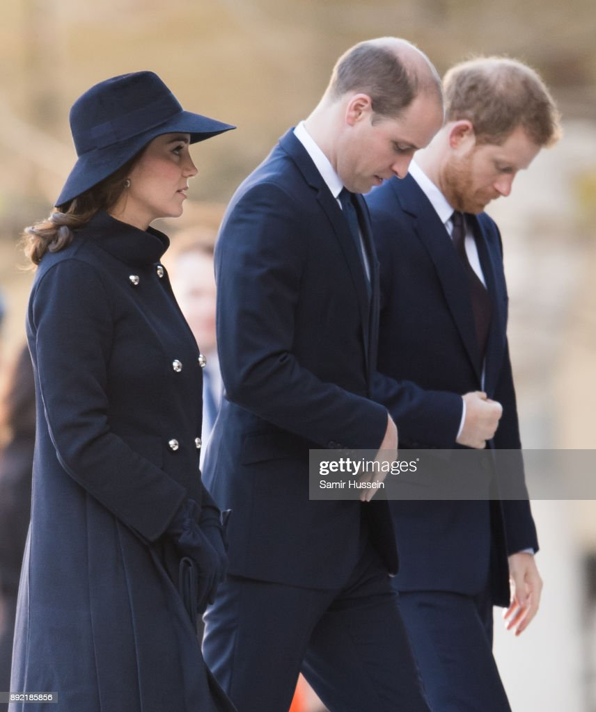 Catherine, Duchess of Cambridge, Prince William, Duke of Cambridge and Prince Harry attend the Grenfell Tower national memorial service held at St Paul's Cathedral on December 14, 2017 in London, England.