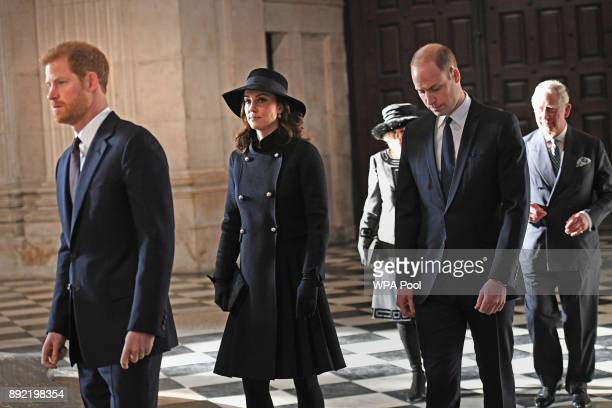 Catherine Duchess of Cambridge Prince William Duke of Cambridge and Prince Harry attend the Grenfell Tower National Memorial Service at St Paul's...
