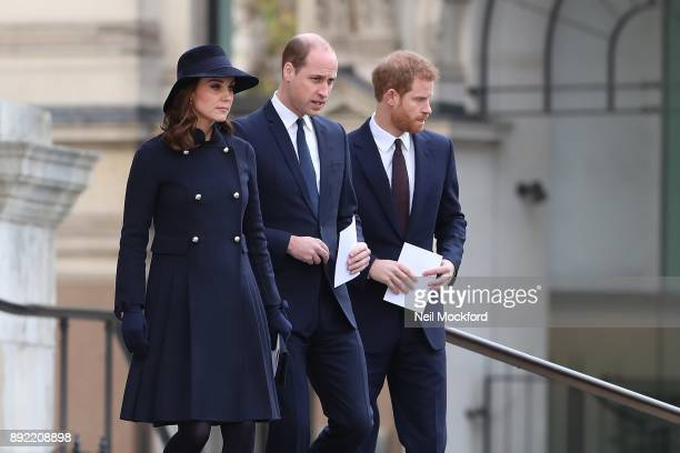 Catherine Duchess of Cambridge Prince William Duke of Cambridge and Prince Harry attend the Grenfell Tower national memorial service held at St...