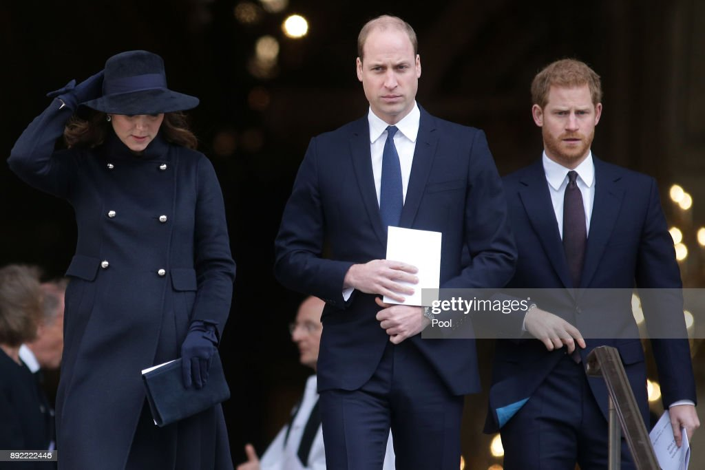 Catherine, Duchess of Cambridge, Prince William, Duke of Cambridge and Prince Harry leave after attending the Grenfell Tower National Memorial Service at St Paul's Cathedral on December 14, 2017 in London, England. The Royal Family and Prime Minister will join survivors of the Grenfell Tower fire at the memorial at St Paul's Cathedral for the six-month anniversary which killed 71 people. About 1,500 people are expected to attend the multi-faith service.