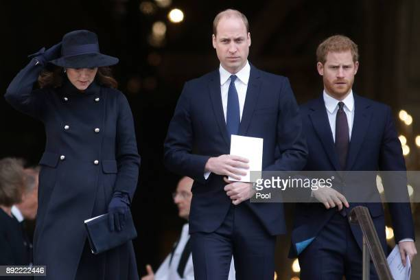 Catherine Duchess of Cambridge Prince William Duke of Cambridge and Prince Harry leave after attending the Grenfell Tower National Memorial Service...