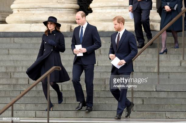 Catherine Duchess of Cambridge Prince William Duke of Cambridge and Prince Harry leave the Grenfell Tower National Memorial Service held at St Paul's...