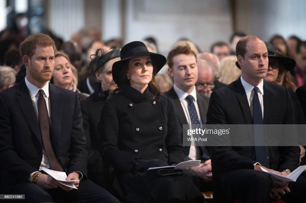 Catherine, Duchess of Cambridge, Prince William, Duke of Cambridge and Prince Harry attend the Grenfell Tower National Memorial Service at St Paul's cathedral on December 14, 2017 in London, England. The Royal Family and Prime Minister will join survivors of the Grenfell Tower fire at the memorial at St Paul's Cathedral for the six-month anniversary which killed 71 people. About 1,500 people are expected to attend the multi-faith service.