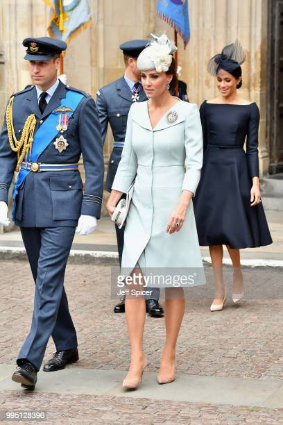 Catherine Duchess of Cambridge Prince William Duke of Cambridge and Meghan Duchess of Sussex attend as members of the Royal Family attend events to...