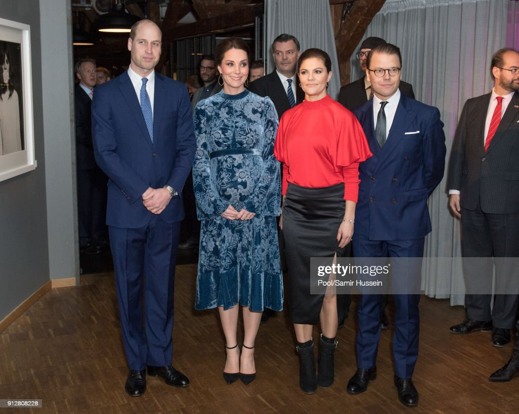 Catherine, Duchess of Cambridge, Prince William, Duke of Cambridge, Crown Princess Victoria of Sweden and Prince Daniel of Sweden during a reception to celebrate Swedish culture at the Fotografiska Gallery on day two of their royal visit to Sweden and Norway on January 31, 2018 in Stockholm, Sweden. on January 31, 2018 in Stockholm, Sweden.