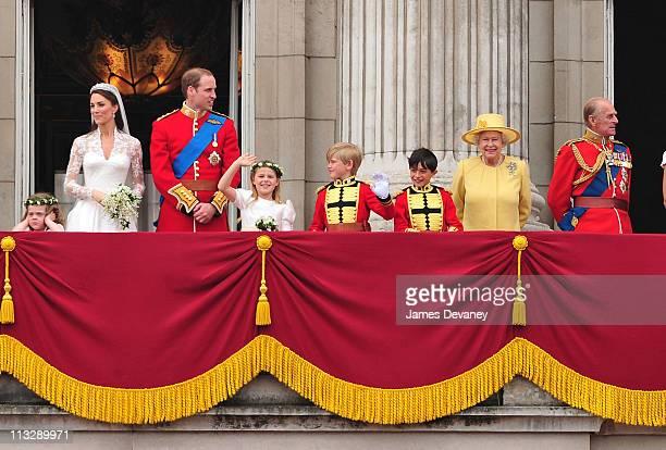 Catherine Duchess of Cambridge Prince William Duke of Cambridge HRH Queen Elizabeth II and Prince Philip Duke of Edinburgh greet crowd of admirers...
