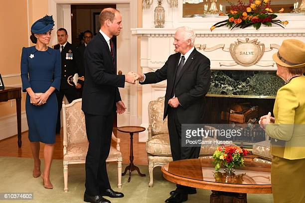 Catherine Duchess of Cambridge Prince William Duke of Cambridge meet David Johnston at a attend a metting of senior Canadian leaders at Government...