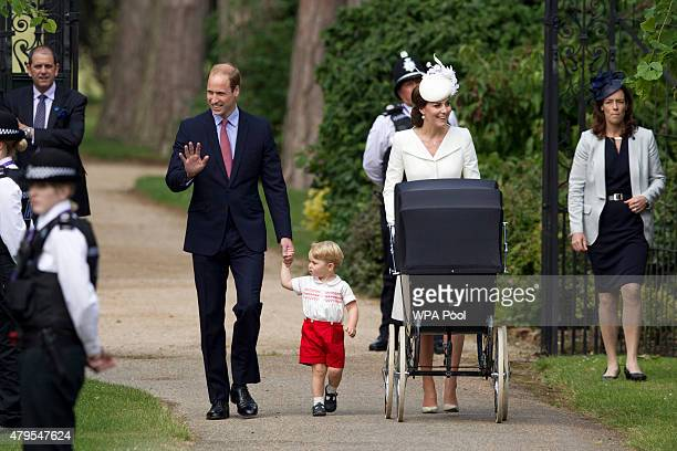 Catherine Duchess of Cambridge Prince William Duke of Cambridge Princess Charlotte of Cambridge and Prince George of Cambridge arrive at the Church...