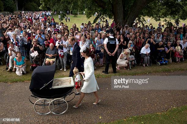 Catherine, Duchess of Cambridge, Prince William, Duke of Cambridge, Princess Charlotte of Cambridge and Prince George of Cambridge arrive at the...