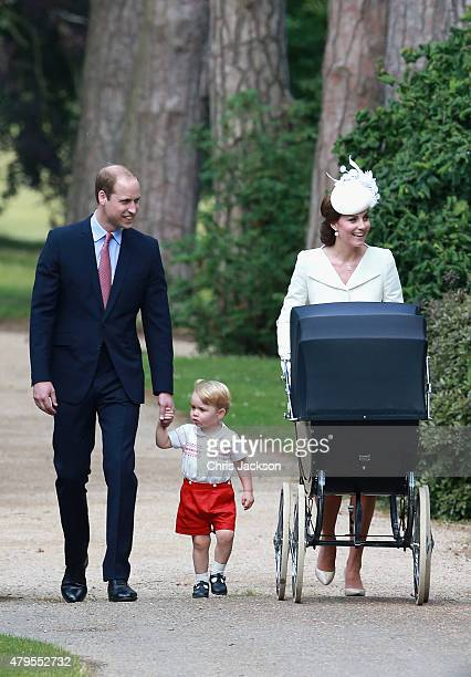 Catherine Duchess of Cambridge Prince William Duke of Cambridge Princess Charlotte of Cambridge and Prince George of Cambridge arrives at the Church...
