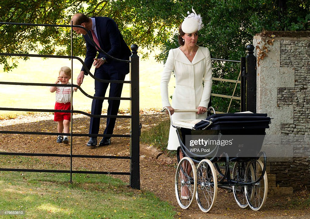 Catherine, Duchess of Cambridge, Prince William, Duke of Cambridge, Princess Charlotte of Cambridge and Prince George of Cambridge leave the Church of St Mary Magdalene on the Sandringham Estate for the Christening of Princess Charlotte of Cambridge on July 5, 2015 in King's Lynn, England.