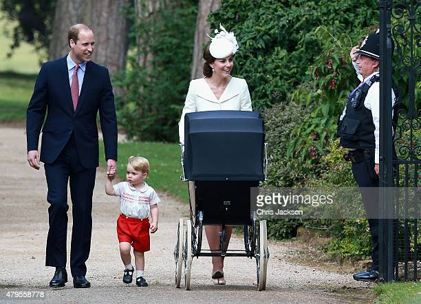 Catherine Duchess of Cambridge Prince William Duke of Cambridge Princess Charlotte of Cambridge and Prince George of Cambridge are saluted by a...