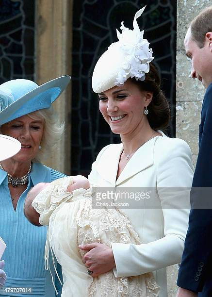 Catherine Duchess of Cambridge Prince William Duke of Cambridge Princess Charlotte of Cambridge and Camilla Duchess of Cornwall leave the Church of...