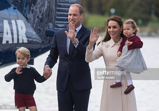Catherine Duchess of Cambridge Prince William Duke of Cambridge Prince George of Cambridge and Princess Charlotte of Cambridge wave to wellwishers as...