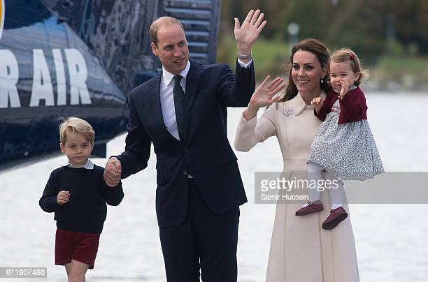 Catherine Duchess of Cambridge Prince William Duke of Cambridge Prince George of Cambridge and Princess Charlotte of Cambridge depart Victoria on...