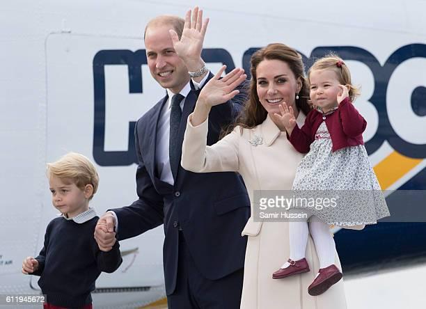 Catherine Duchess of Cambridge Prince William Duke of Cambridge Prince George of Cambridge and Princess Charlotte of Cambridge depart Victoria on...