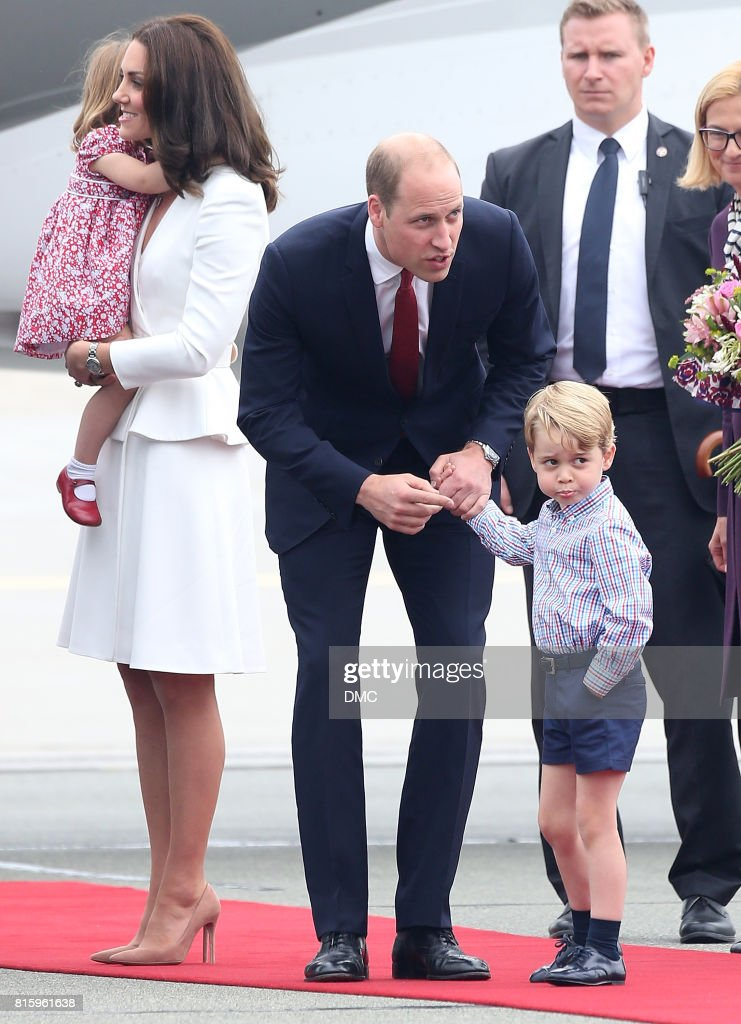 Catherine, Duchess of Cambridge, Prince William, Duke of Cambridge, Prince George of Cambridge and Princess Charlotte of Cambridge are seen arriving at the airport during an official visit to Poland and Germany on July 17, 2017 in Warsaw, Poland.