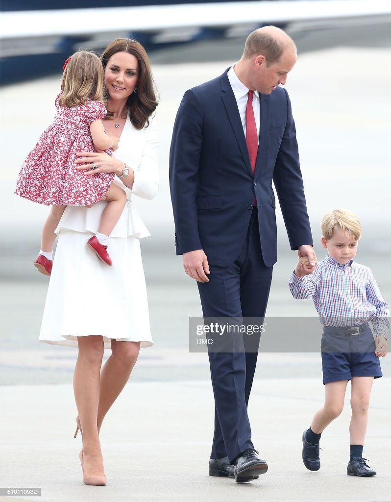 Catherine, Duchess of Cambridge, Prince William, Duke of Cambridge, Prince George of Cambridge and Princess Charlotte of Cambridge arrive at the airport during an official visit to Poland and Germany on July 17, 2017 in Warsaw, Poland.