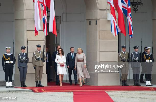 Catherine Duchess of Cambridge Prince William Duke of Cambridge President of Poland Andrzej Duda and the first Lady Agata KornhauserDuda visit the...