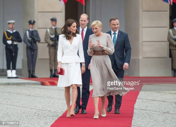 Catherine, Duchess of Cambridge, Prince William, Duke of Cambridge, President of Poland Andrzej Duda and the first Lady Agata Kornhauser-Duda visit...