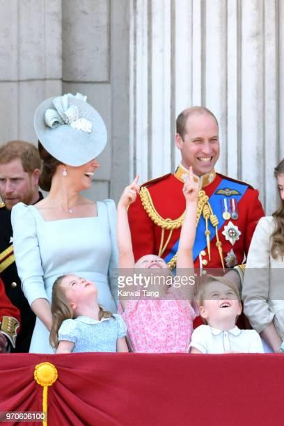 Catherine Duchess of Cambridge Prince William Duke of Cambridge Princess Charlotte of Cambridge Savannah Phillips and Prince George of Cambridge on...