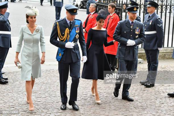 Catherine Duchess of Cambridge Prince William Duke of Cambridge Meghan Duchess of Sussex and Prince Harry Duke of Sussex attend as members of the...