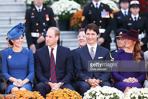 Catherine Duchess of Cambridge Prince William Duke of Cambridge Canadian Prime Minister Justin Trudeau and his wife Sophie GregoireTrudeau attend the...