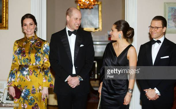 Catherine Duchess of Cambridge Prince William Duke of Cambridge pose with Crown Princess Victoria of Sweden and Prince Daniel of Sweden as they...