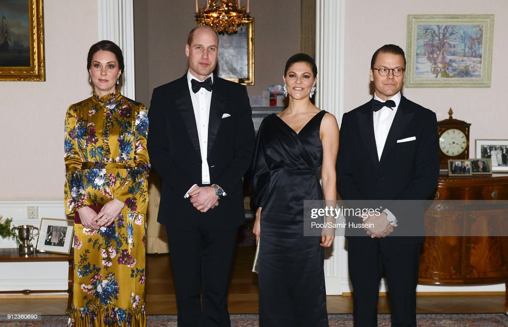 Catherine, Duchess of Cambridge, Prince William, Duke of Cambridge pose with Crown Princess Victoria of Sweden and Prince Daniel of Sweden as they attend a reception dinner at the British Ambassador's residence during day one of their Royal visit to Sweden and Norway with Prince William, Duke of Cambridge on January 30, 2018 in Stockholm, Sweden.