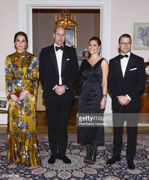 Catherine, Duchess of Cambridge, Prince William, Duke of Cambridge pose with Crown Princess Victoria of Sweden and Prince Daniel of Sweden as they...