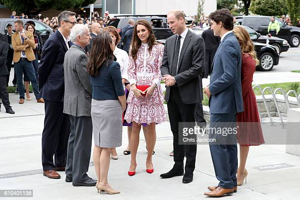 Catherine, Duchess of Cambridge, Prince William, Duke of Cambridge, Prime Minister Justin Trudeau and his wife Sophie Gregoire-Trudeau arrive to the...