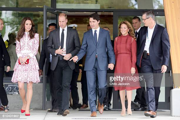 Catherine, Duchess of Cambridge, Prince William, Duke of Cambridge, Prime Minister Justin Trudeau and his wife Sophie Gregoire-Trudeau leave the...