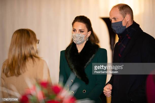 Catherine, Duchess of Cambridge, Prince William, Duke of Cambridge arrive to thank local volunteers and key workers for the work they are doing...
