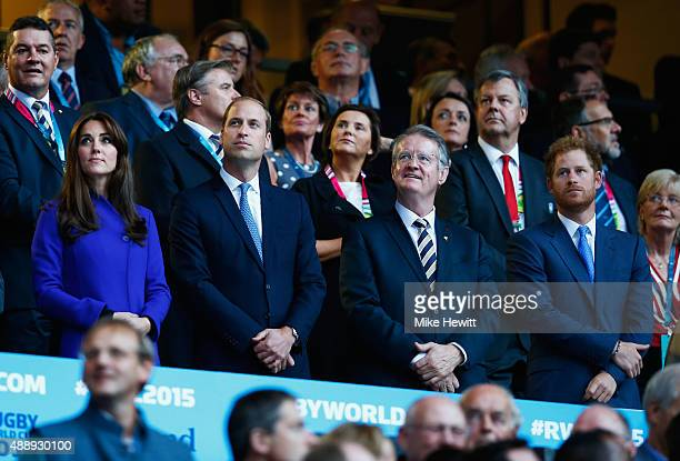 Catherine Duchess of Cambridge Prince William Duke of Cambridge World Rugby Chairman Bernard Lapasset and Prince Harry attend the opening ceremony...