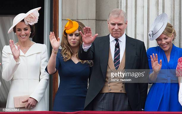 Catherine, Duchess of Cambridge, Princess Beatrice, Prince Andrew, Duke of York and Autumn Phillips stand on the balcony during the Trooping the...