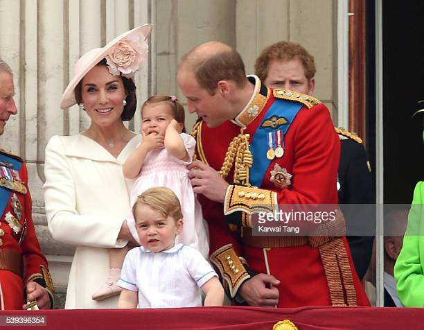 Catherine, Duchess of Cambridge, Princess Charlotte and Prince George, Prince William, Duke of Cambridge attend the Trooping the Colour, this year...