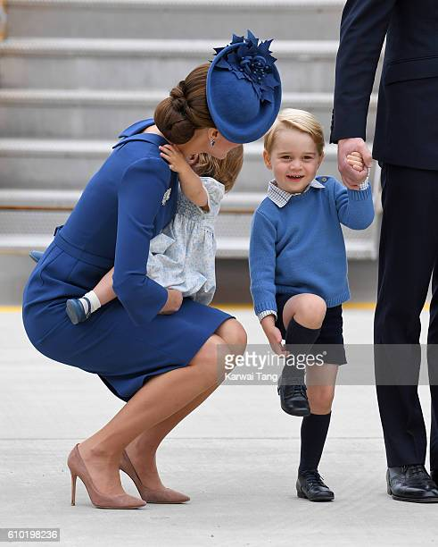 Catherine, Duchess of Cambridge, Princess Charlotte and Prince George arrive at Victoria Airport ahead of their Royal Tour of Canada and Yukon on...