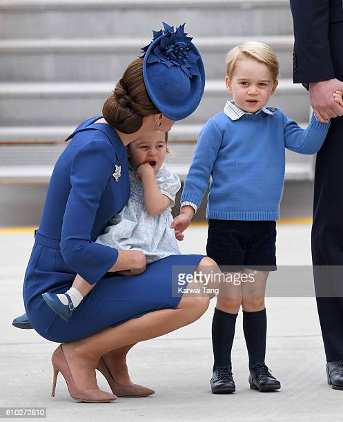 Catherine Duchess of Cambridge Princess Charlotte and Prince George arrive at Victoria Airport ahead of their Royal Tour of Canada and Yukon on...