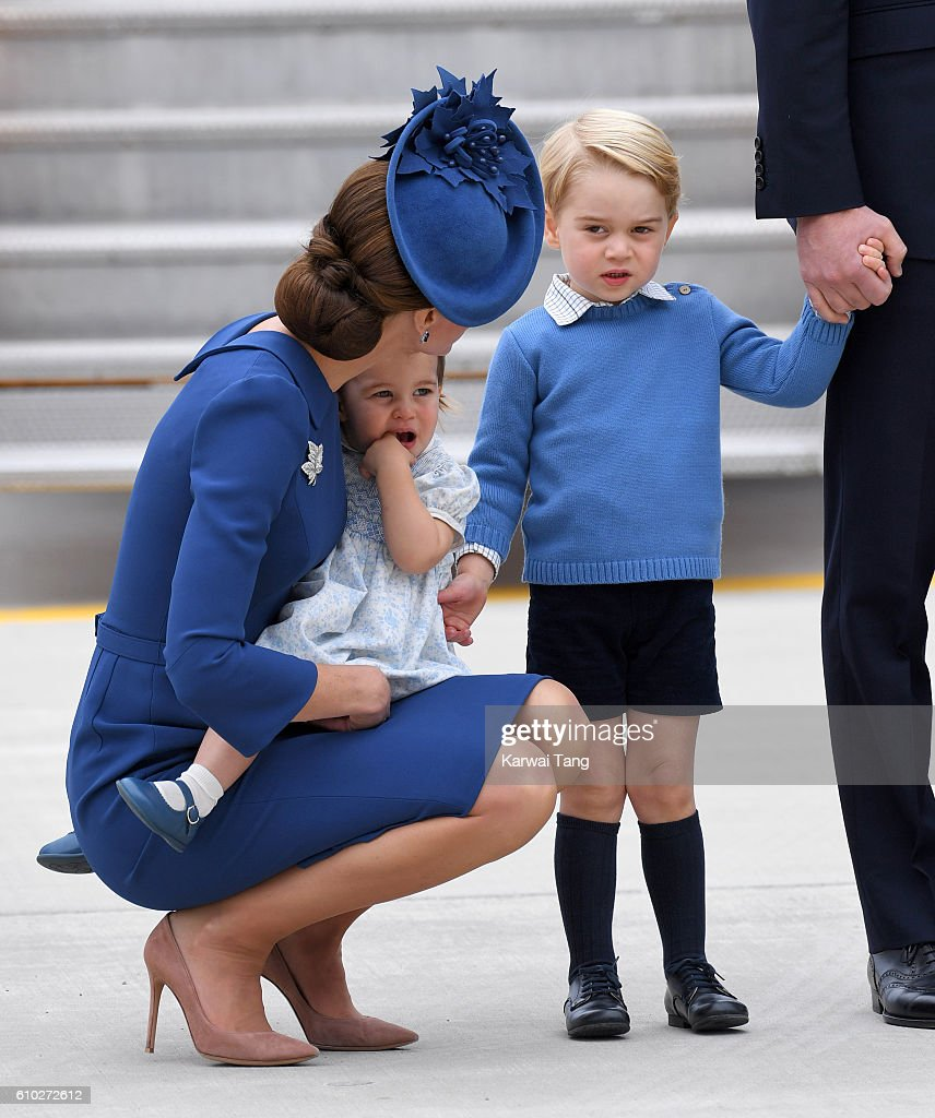 Catherine, Duchess of Cambridge, Princess Charlotte and Prince George arrive at Victoria Airport ahead of their Royal Tour of Canada and Yukon on September 24, 2016 in Victoria, Canada.