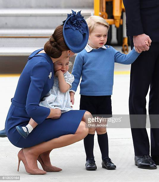 Catherine Duchess of Cambridge Princess Charlotte of Cambridge aand Prince George rrive at the Victoria Airport on September 24 2016 in Victoria...