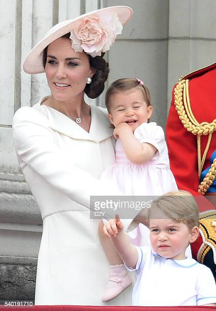 Catherine, Duchess of Cambridge, Princess Charlotte of Cambridge and Prince George of Cambridge during the Trooping the Colour, this year marking the...
