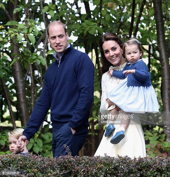 Catherine Duchess of Cambridge Princess Charlotte of Cambridge and Prince George of Cambridge Prince William Duke of Cambridge at a children's party...