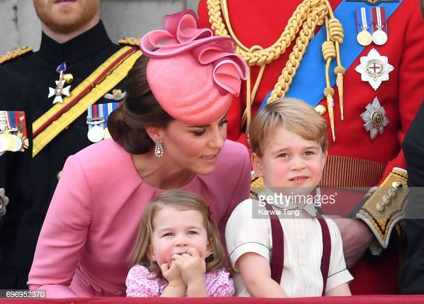 Catherine Duchess of Cambridge Princess Charlotte of Cambridge and Prince George of Cambridge look on from the balcony during the annual Trooping The...