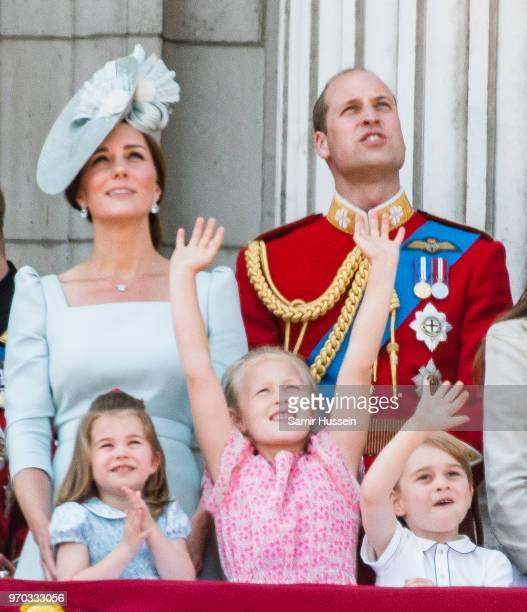 Catherine Duchess of Cambridge Princess Charlotte of Cambridge Savannah Phillips Prince William Duke of Cambridge and Prince George of Cambridge on...