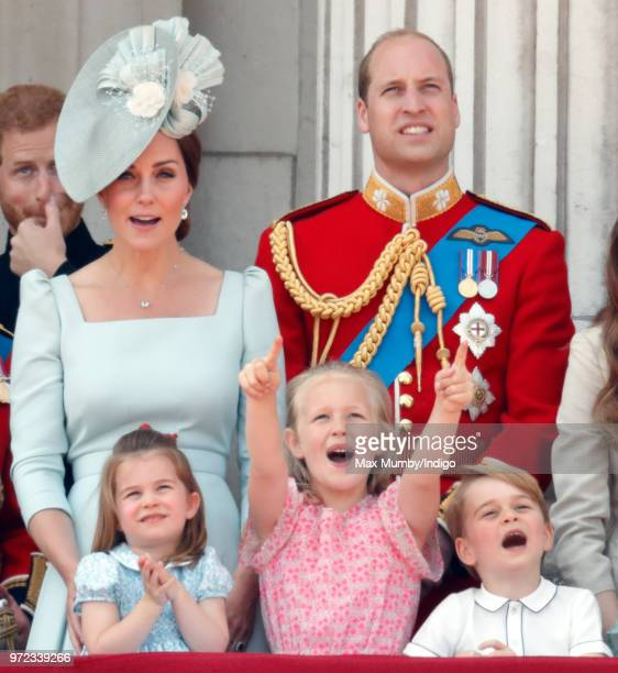 Catherine, Duchess of Cambridge, Princess Charlotte of Cambridge, Savannah Phillips, Prince William, Duke of Cambridge and Prince George of Cambridge...