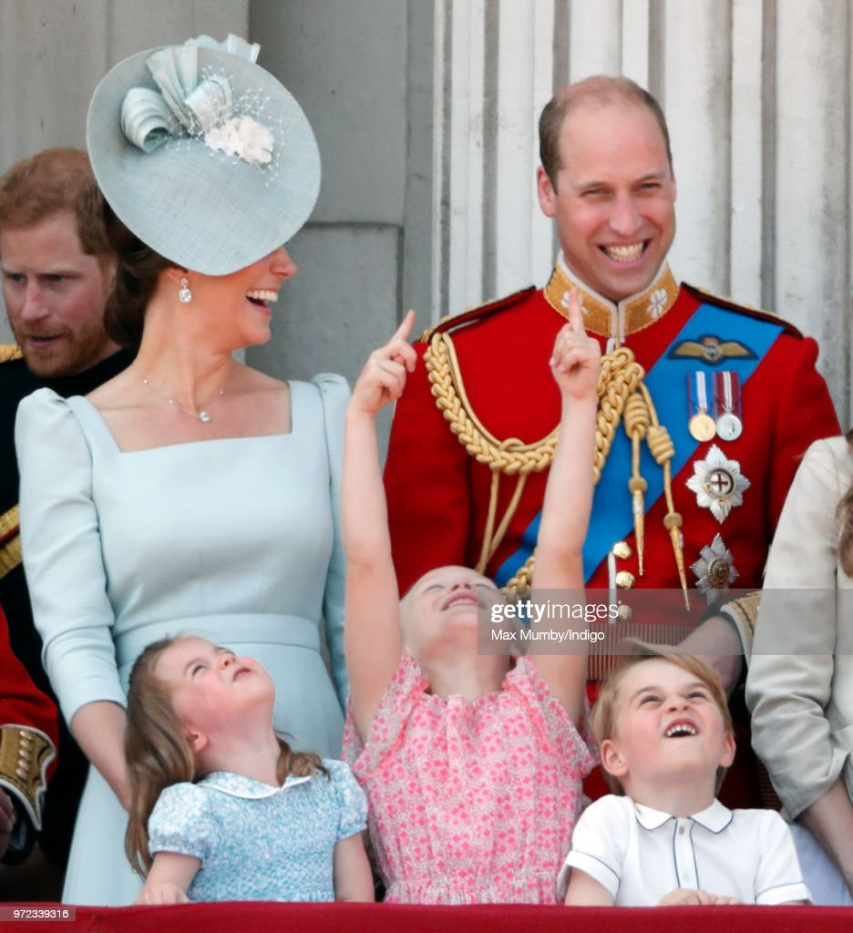 Catherine, Duchess of Cambridge, Princess Charlotte of Cambridge, Savannah Phillips, Prince William, Duke of Cambridge and Prince George of Cambridge stand on the balcony of Buckingham Palace during Trooping The Colour 2018 on June 9, 2018 in London, England. The annual ceremony, involving over 1400 guardsmen and cavalry, is believed to have first been performed during the reign of King Charles II. The parade marks the official birthday of the Sovereign, even though the Queen's actual birthday is on April 21st.