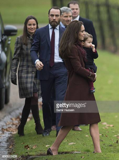 Catherine Duchess of Cambridge Princess Charlotte of Cambridge Pippa Middleton and James Middleton attend Church on Christmas Day on December 25 2016...