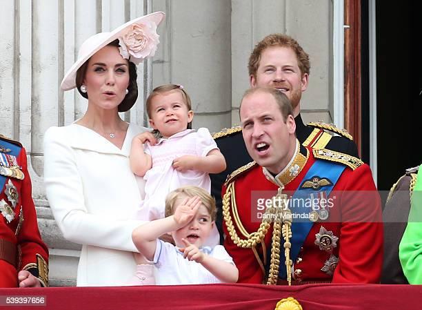 Catherine Duchess of Cambridge Princess Charlotte of Cambridge Prince George of Cambridge Prince Harry and Prince William Duke of Cambridge attend...