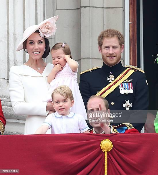 Catherine Duchess of Cambridge Princess Charlotte of Cambridge Prince George of Cambridge Prince William Duke of Cambridge and Prince Harry the...
